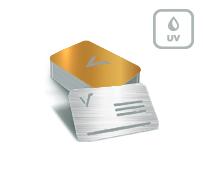 Mediacards mit Metallic-Effekt Silber + partieller UV Lack