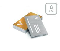 Visitenkarten mit Metallic-Effekt Silber + partieller UV Lack