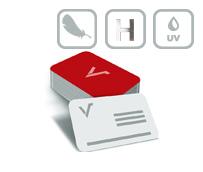 Mediacards mit Softtouch-Folie, partiellem UV-Lack, Heißfolienprägung