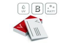 Visitenkarten mit Mattfolie, partiellem UV Lack und Blindprägung
